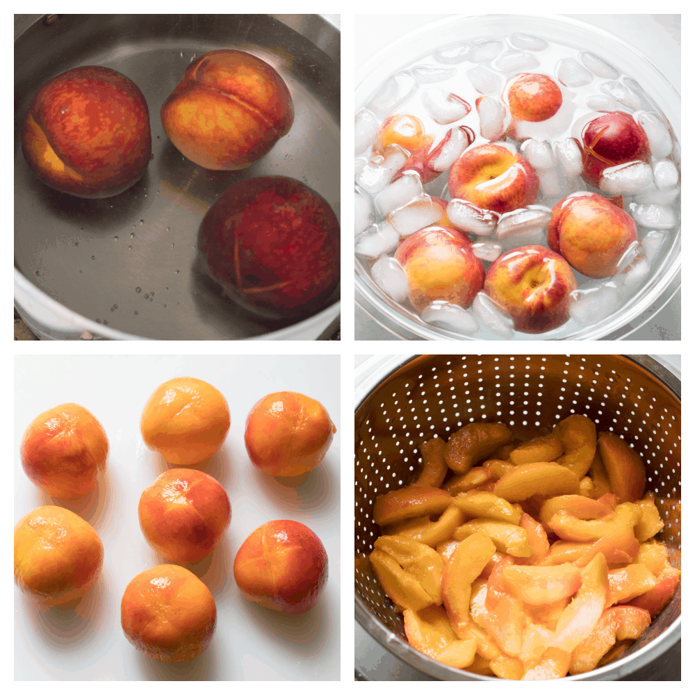 Peaches in a cold bath and peeled.