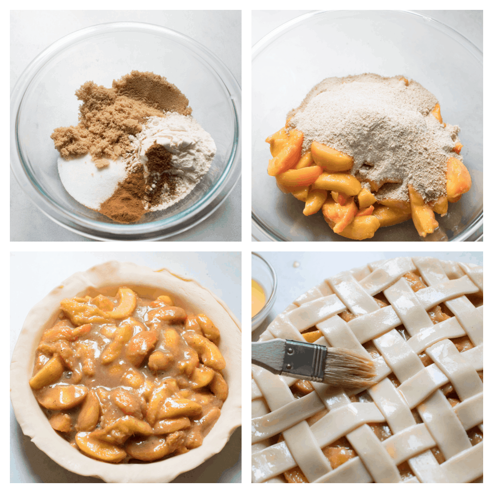 Process shots of making peach pie in a glass bowl.