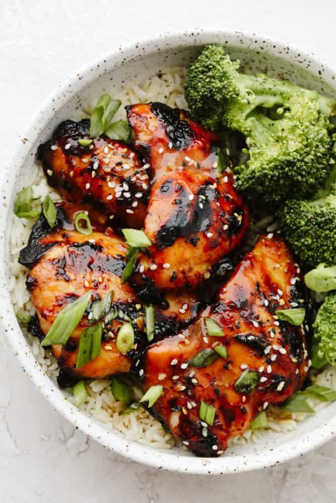 Honey Garlic Chicken in rice bowl with broccoli.
