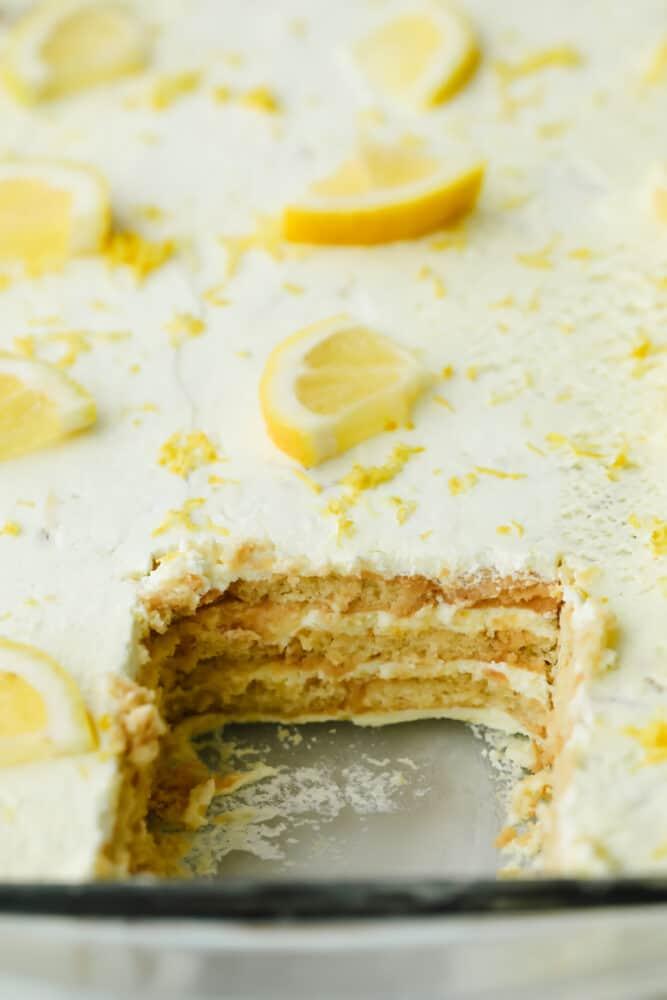 Piece taken out of Lemon Icebox Cake.