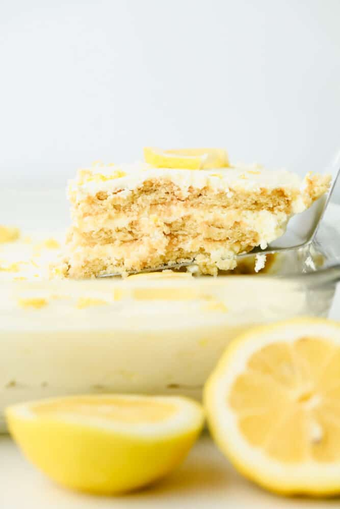 Taking a piece of Lemon Icebox Cake.