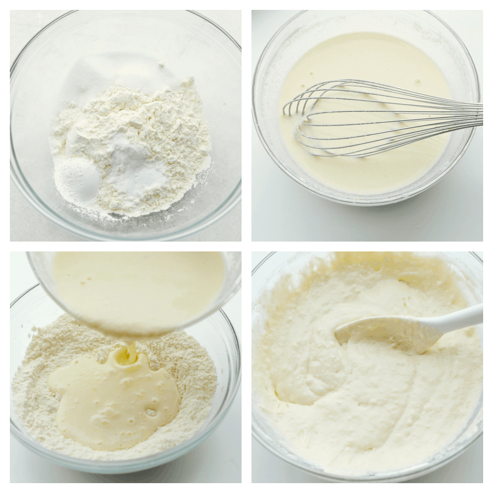 Mixing the dry ingredients, then the wet and combining them together.