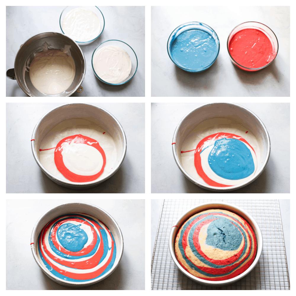 Buat adonan, pisahkan dan warnai adonan, lalu masukkan ke dalam loyang untuk dipanggang.