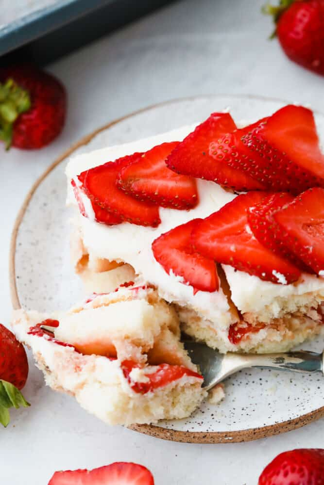 Taking a bite of Strawberry Tiramisu.