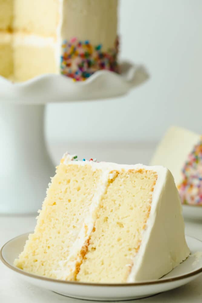 Slice of The Absolute Best White Cake.