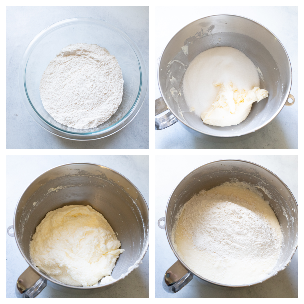 The process of making white cake in the mixer.