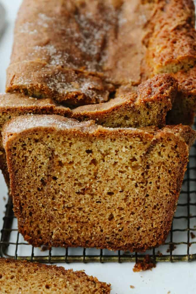 Close-up of Amish Friendship Bread, sliced.
