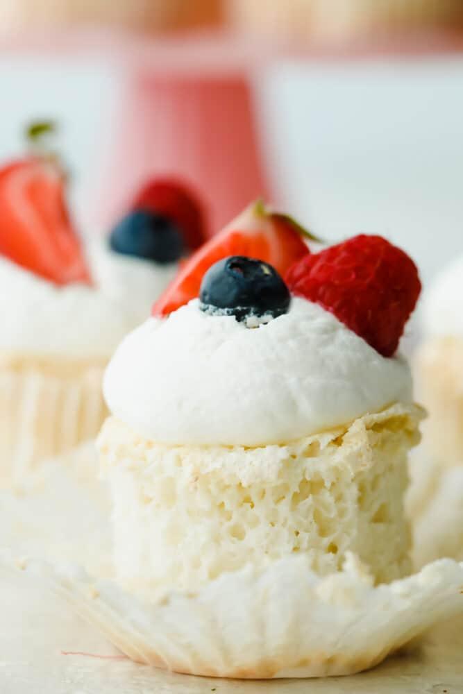 Close-up of an Angel Food Cupcake.