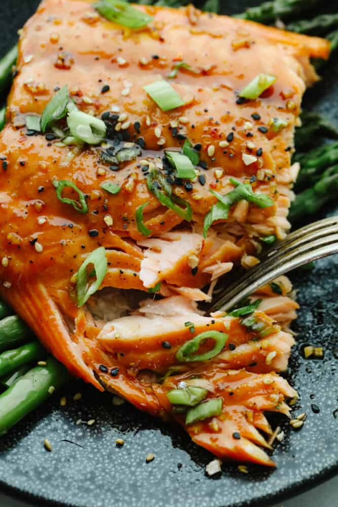 Taking a bite of asian glazed salmon, garnished with green onions.