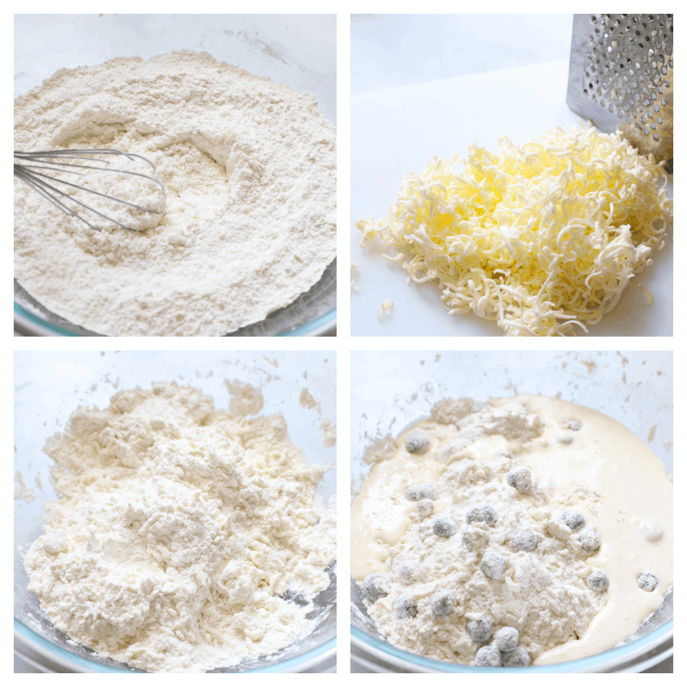 The process of making blueberry scones.