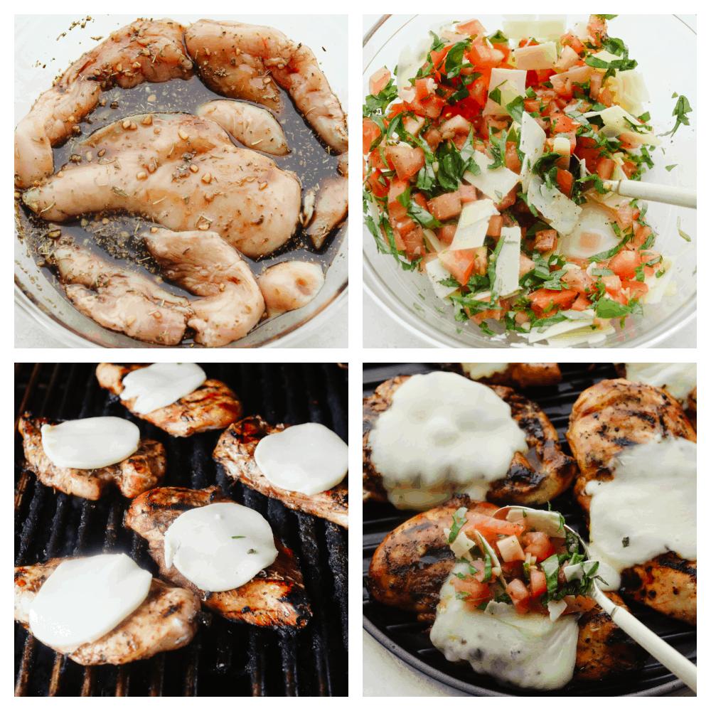 The process of making bruschetta chicken.