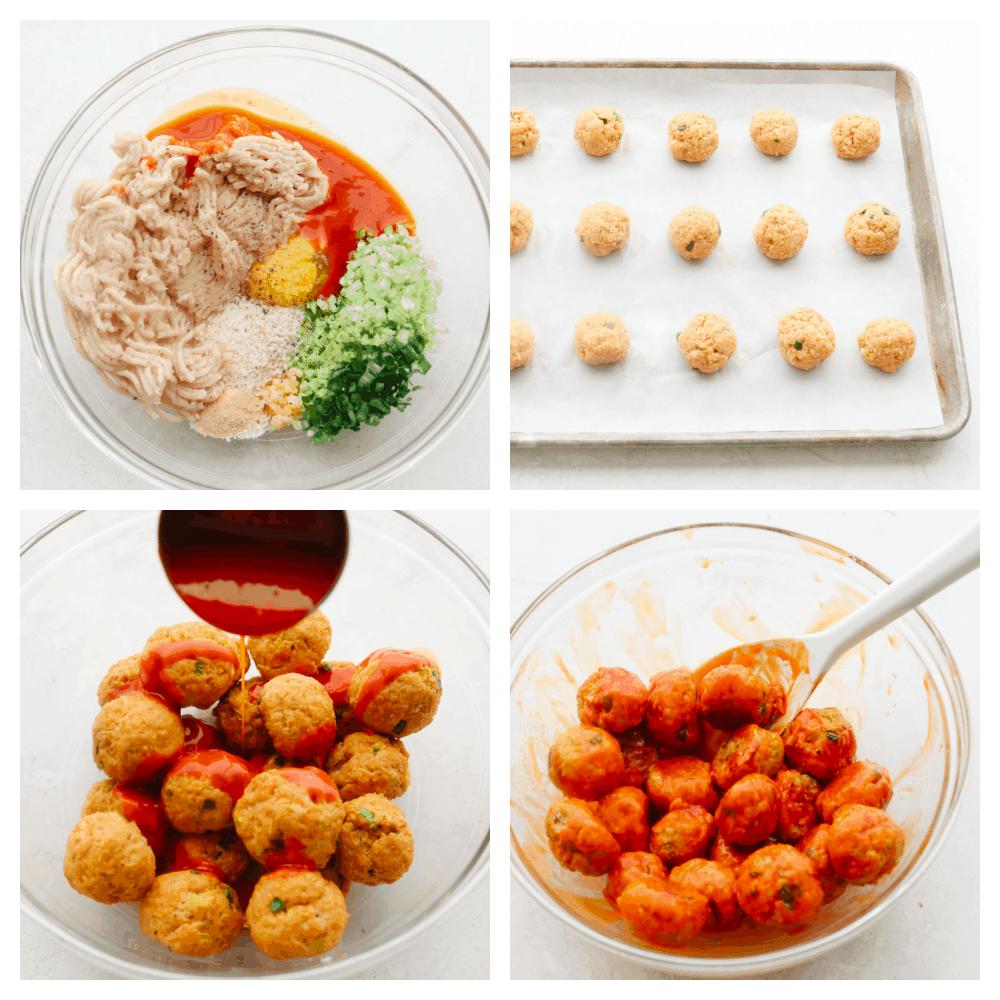 The process of making buffalo chicken meatballs.