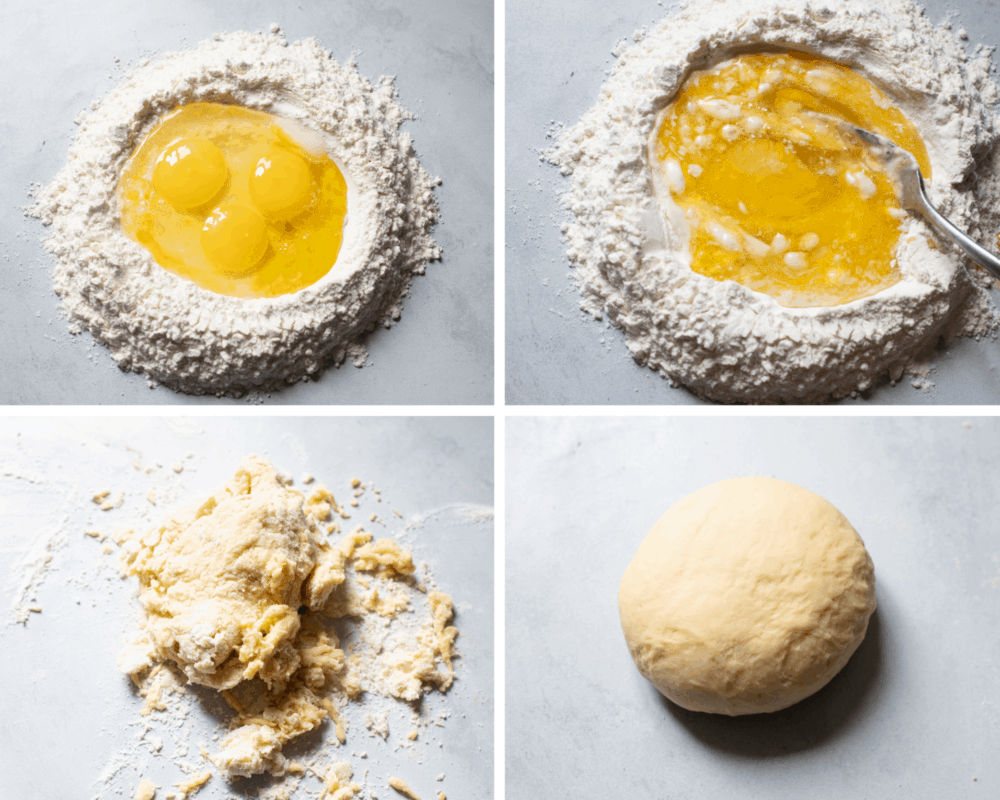 The flour in a nest, adding the eggs, and kneading the dough.