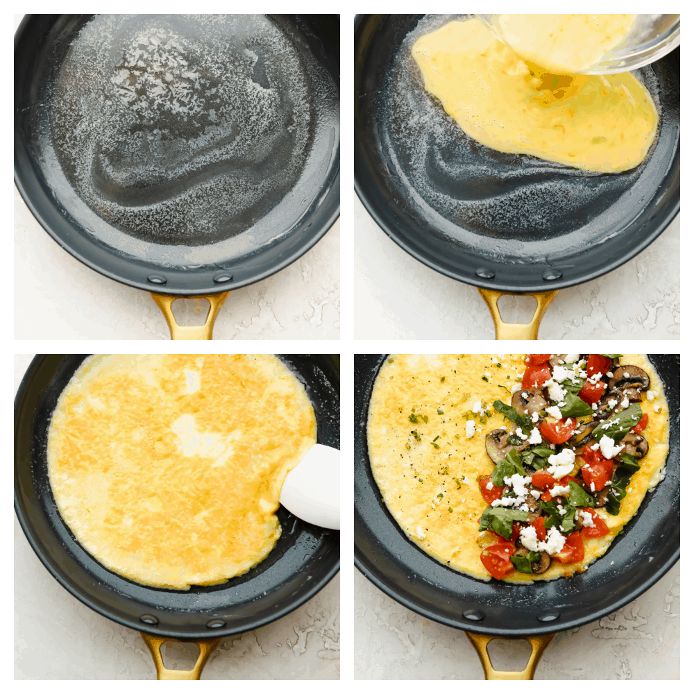 Four pictures of the cooking process of an omelet from start to finish.