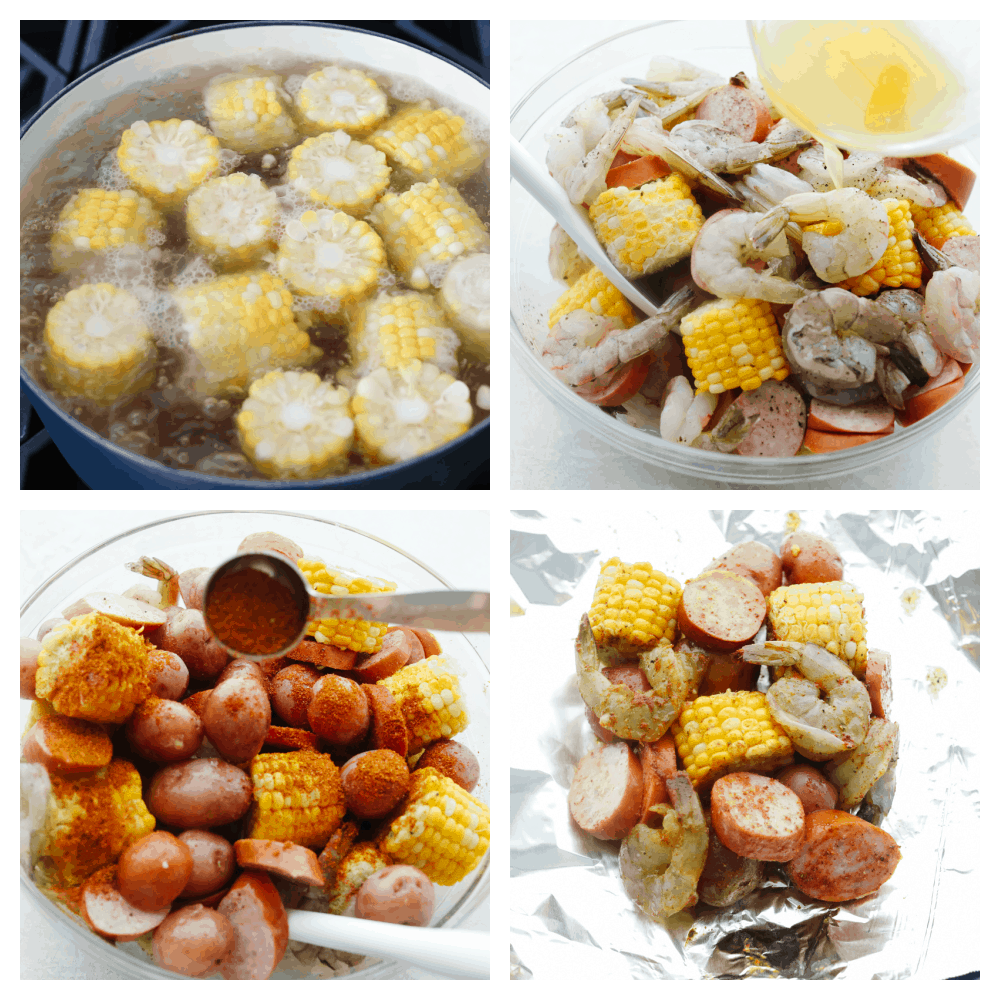 The process of cooking shrimp foil packets.