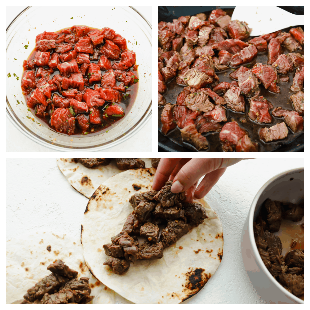 3 pictures showing steak marinating.