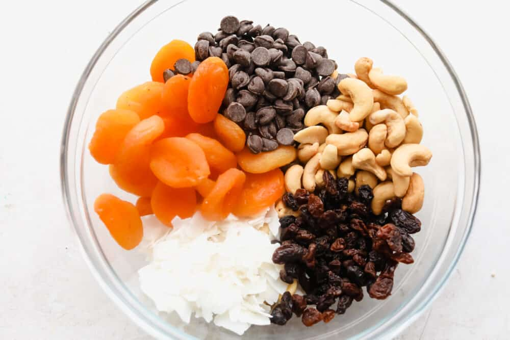 Dried Fruit Trail Mix ingredients.