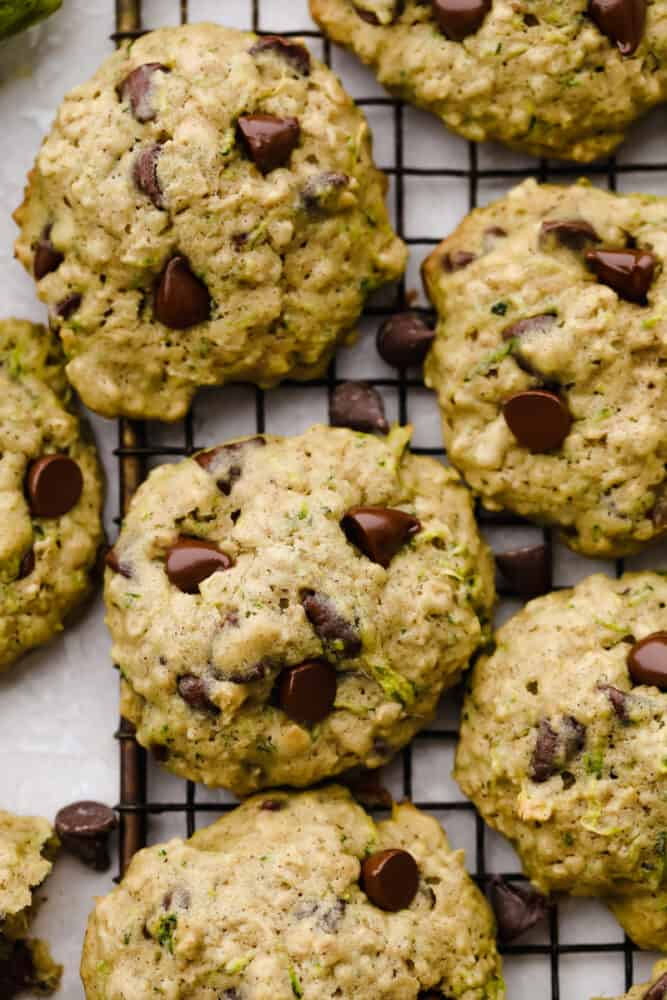 Zoomed in photo of a finished zucchini oat chocolate chip cookie.