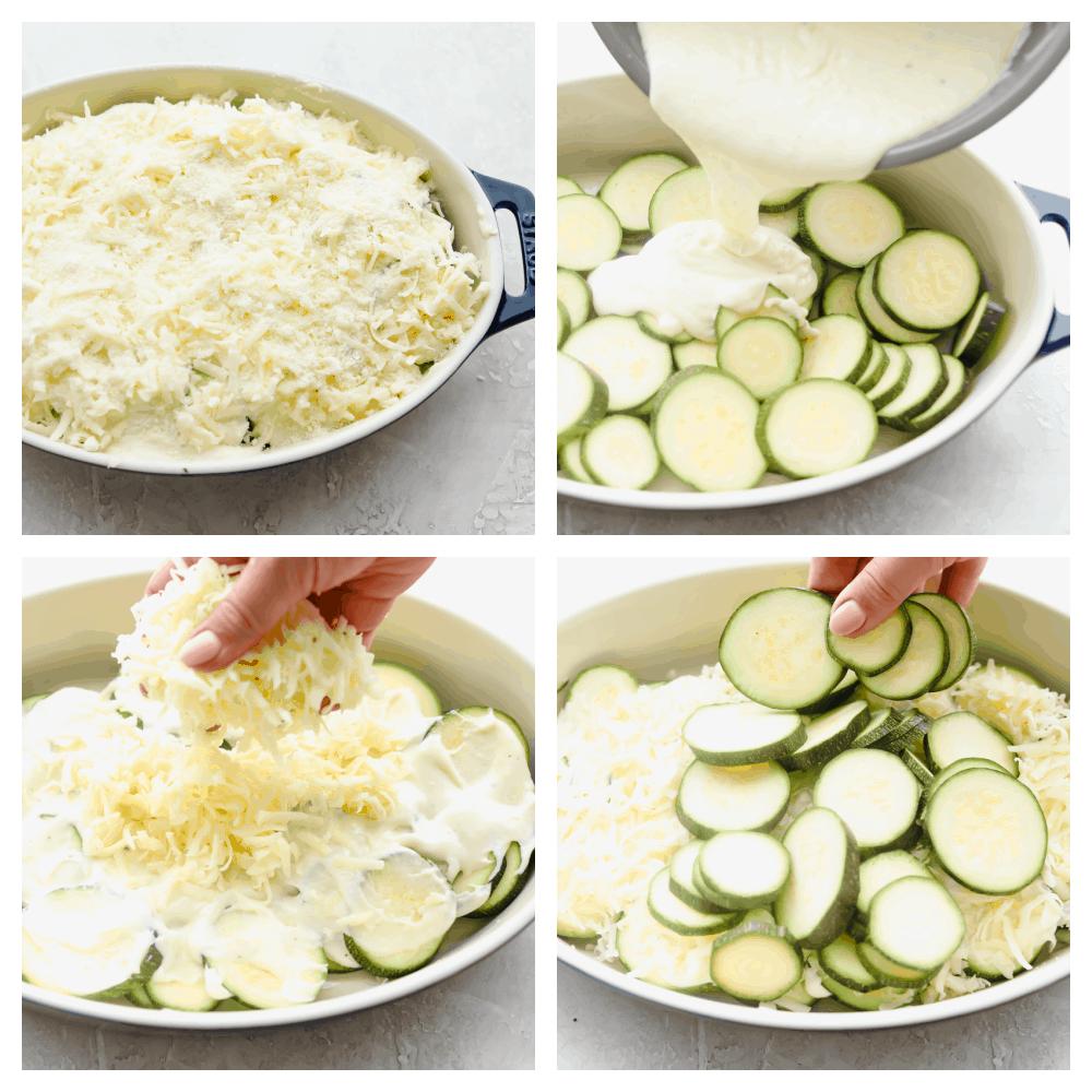 The process of making zucchini casserole.