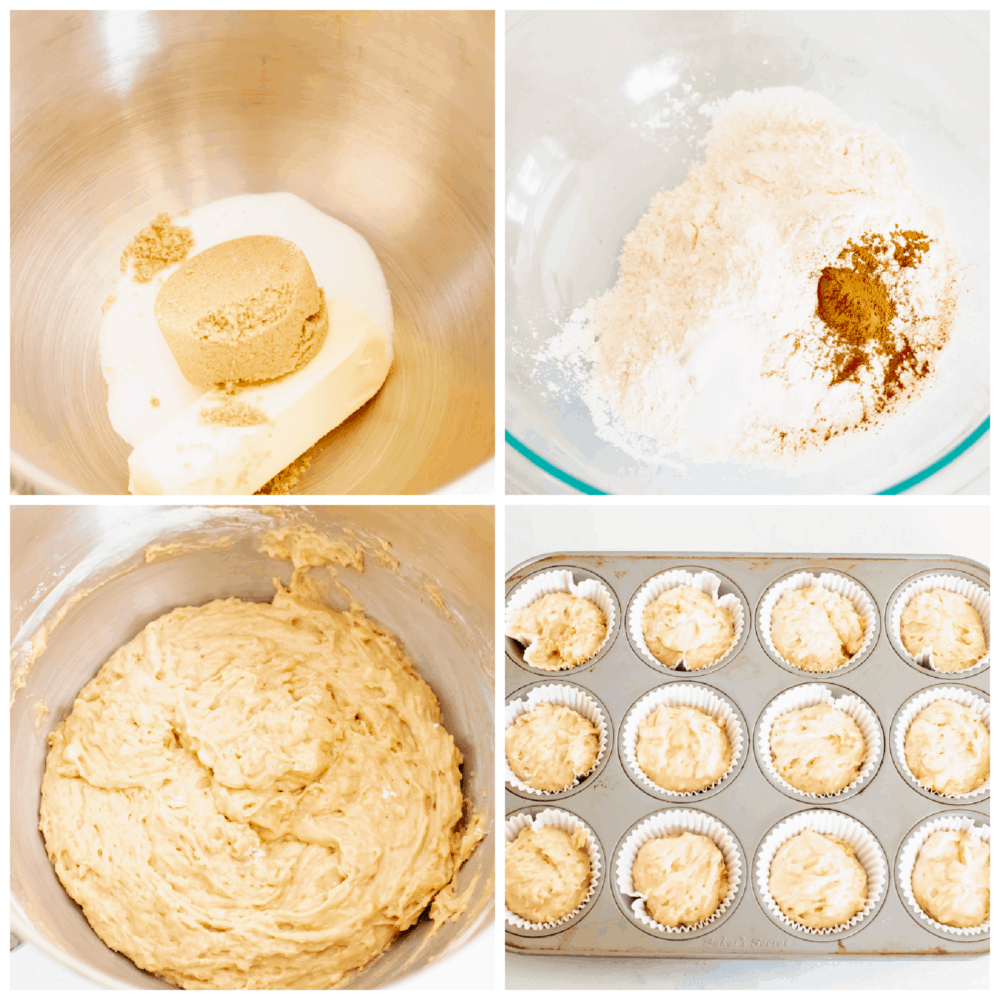 4 pictures showing the steps to making banana cupcakes.
