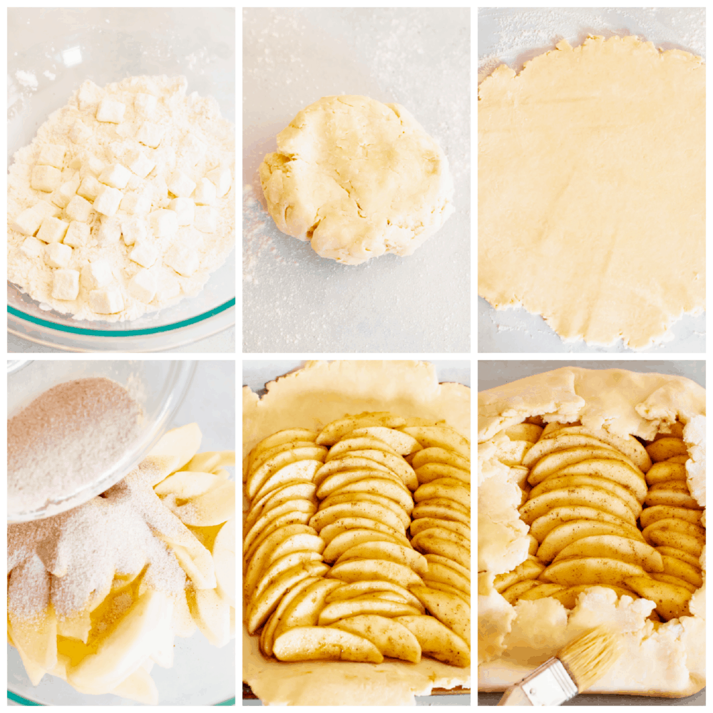 Process shots of preparing crust and filling.