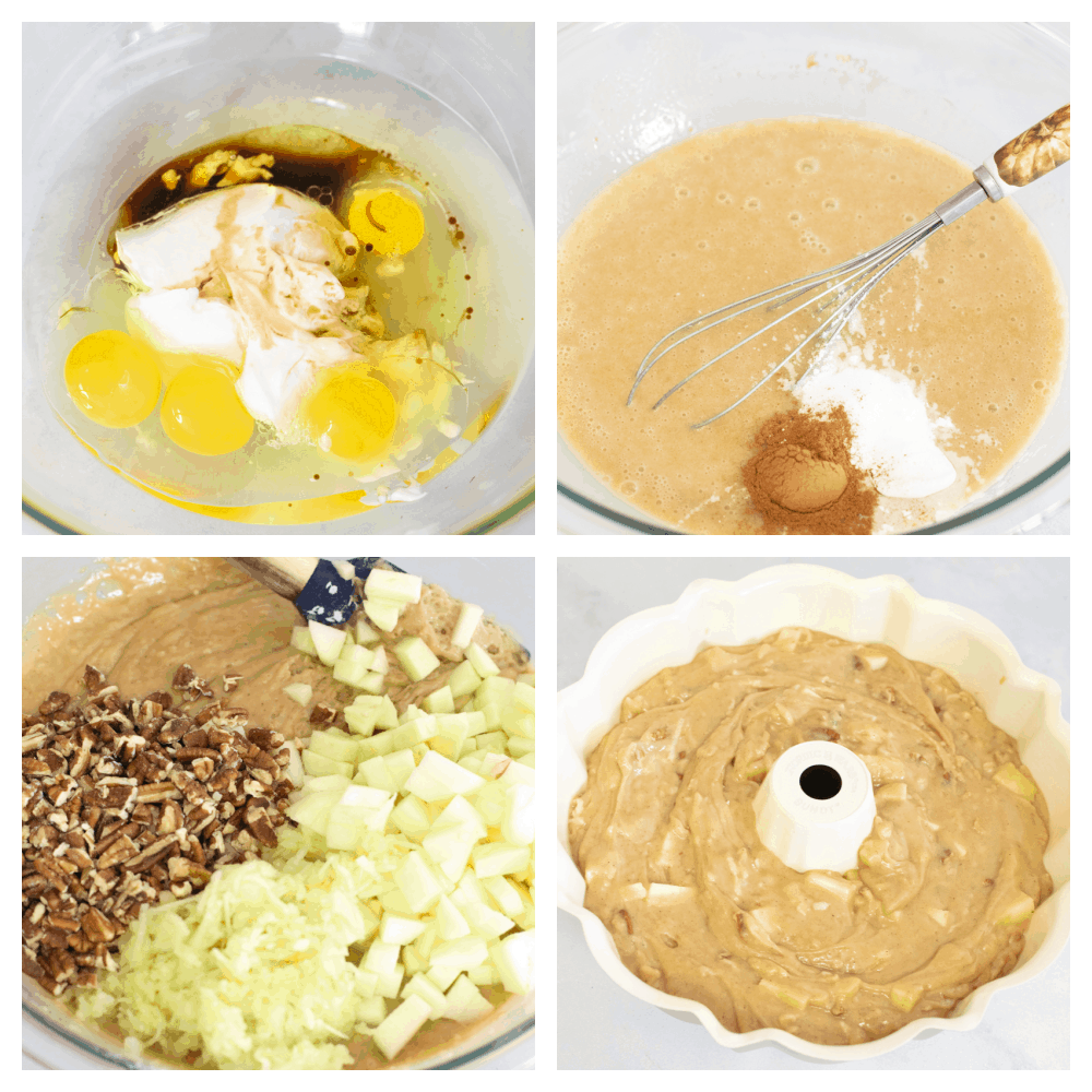 4 pictures of ingredients being mixed into a bowl, step by step.