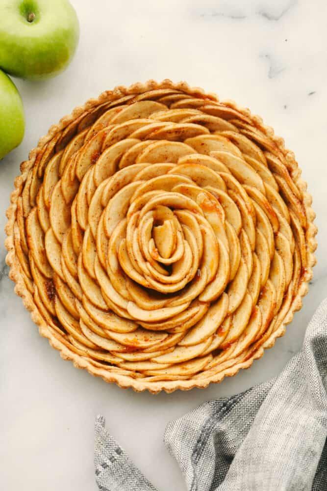 A whole tart, baked.