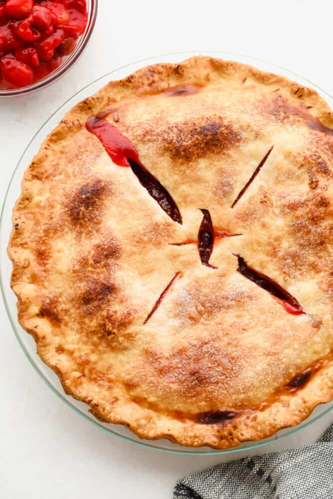 A beautiful golden brown finished pie.