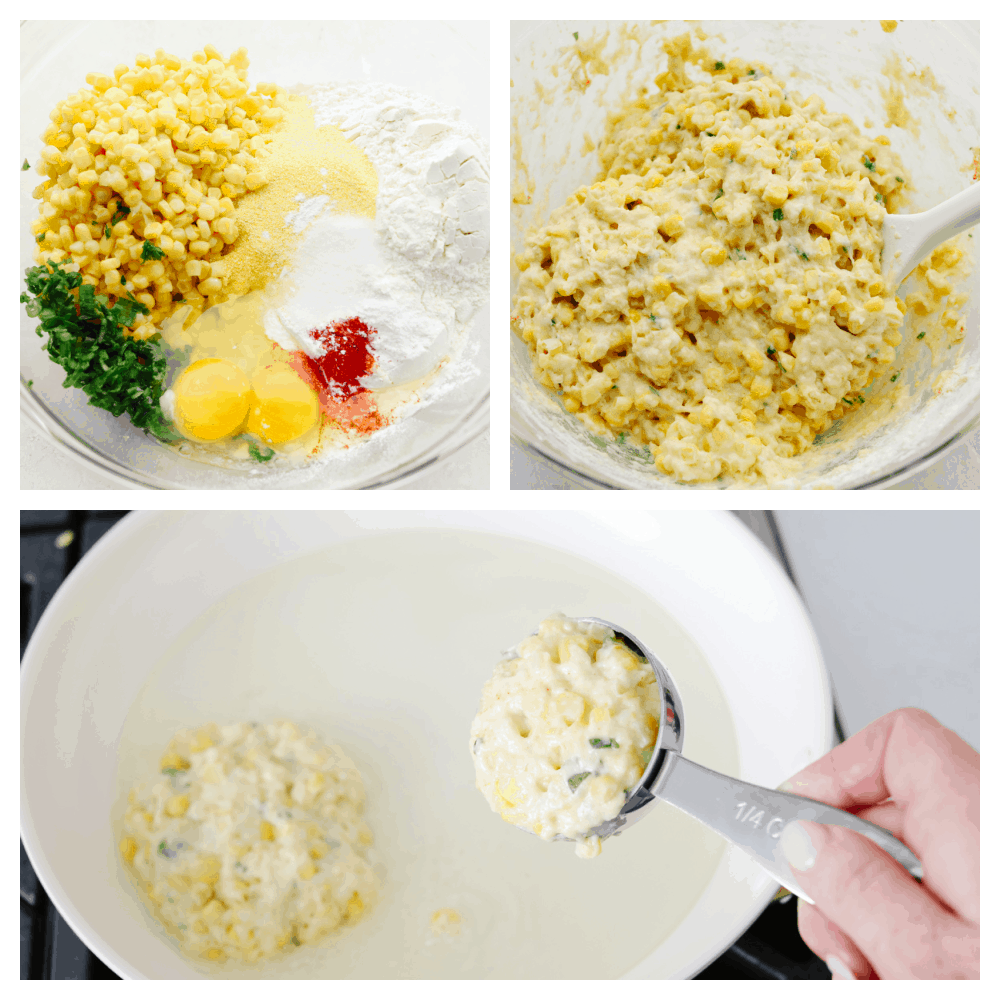 3 pictures showing step by step how to make corn fritter batter.