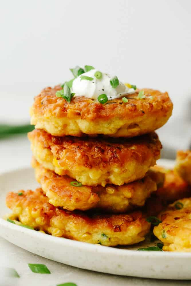A stack of corn fritters.