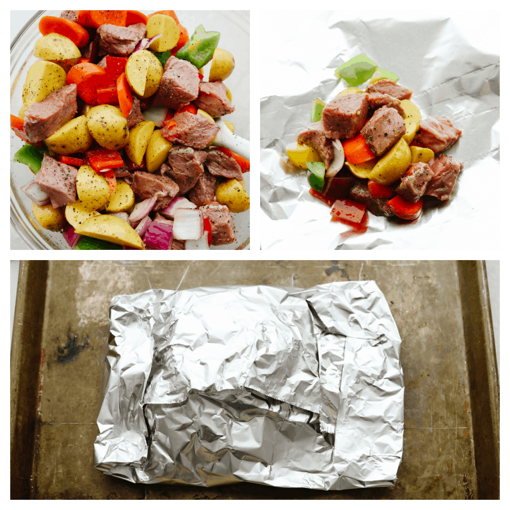 3 photos showing how to combine the meat and vegetables in foil packets.