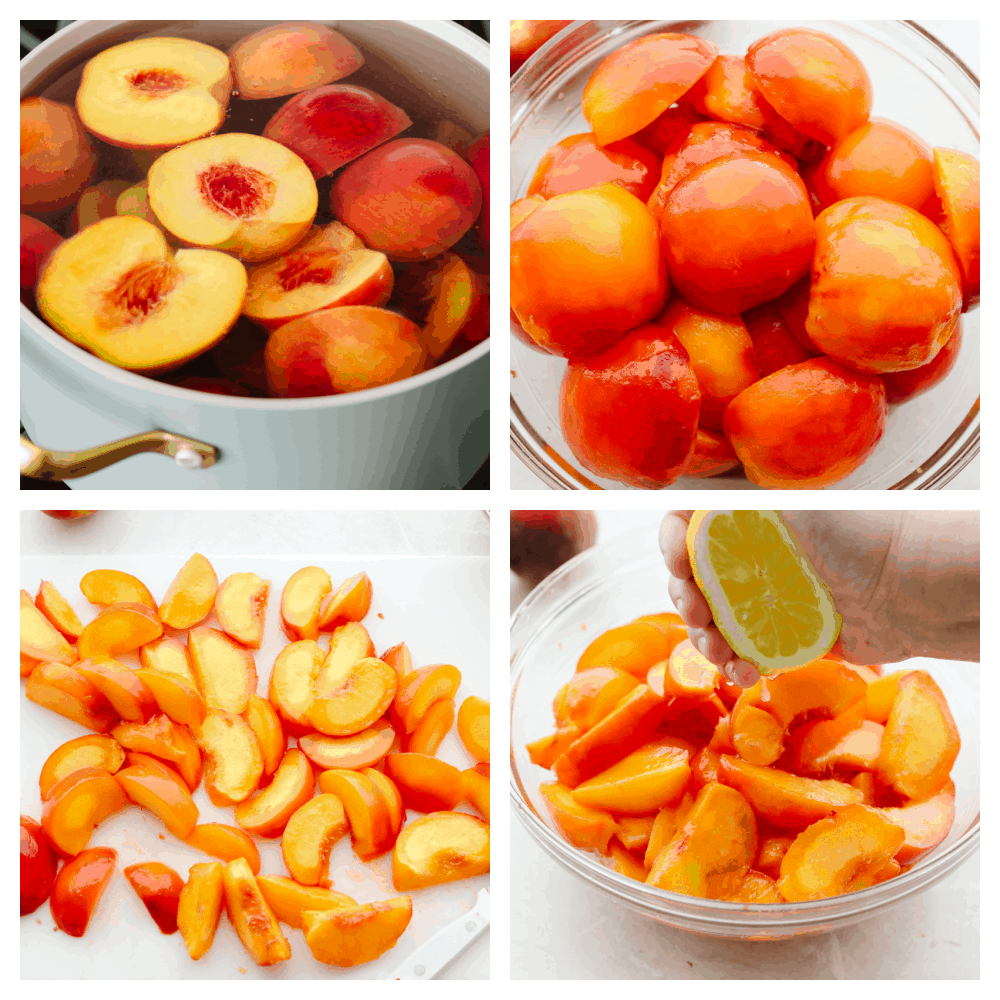 4 step by step pictures of cutting and boiling peaches.