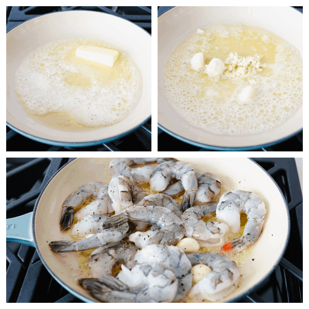 3 pictures of melting butter and cooking shrimp.