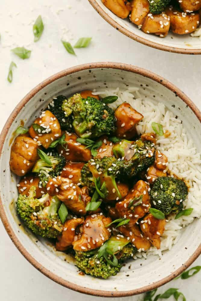 Stir-fried hoisin chicken and broccoli served over rice.