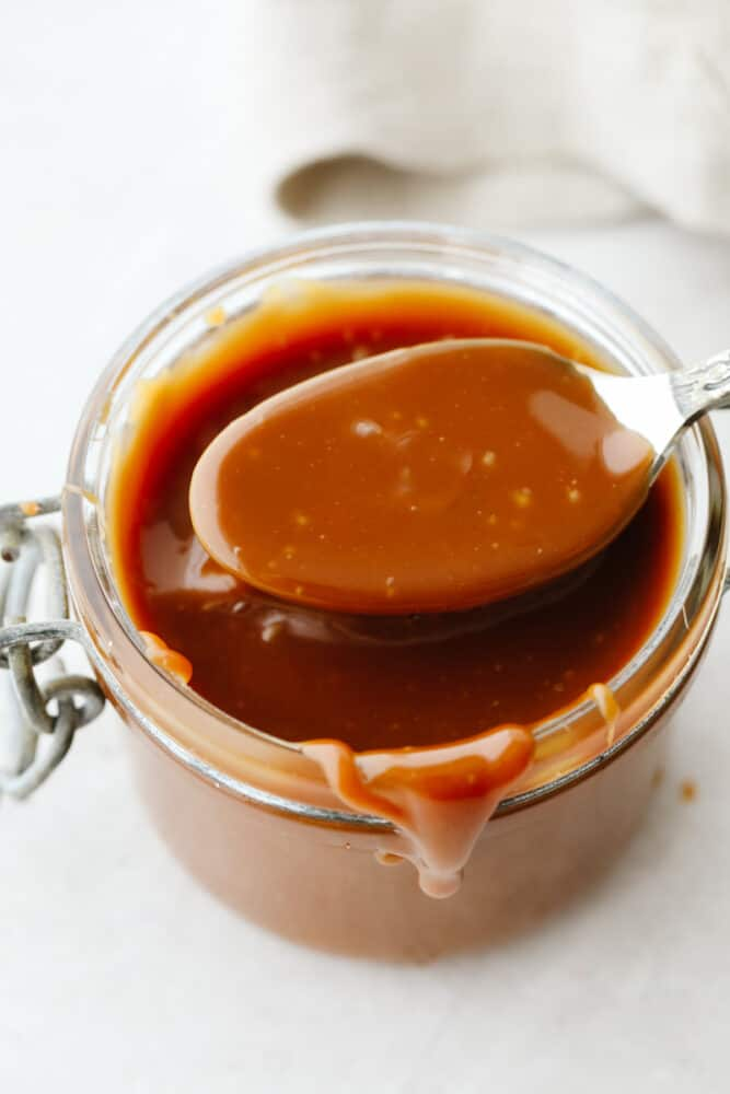 Caramel on a spoon.