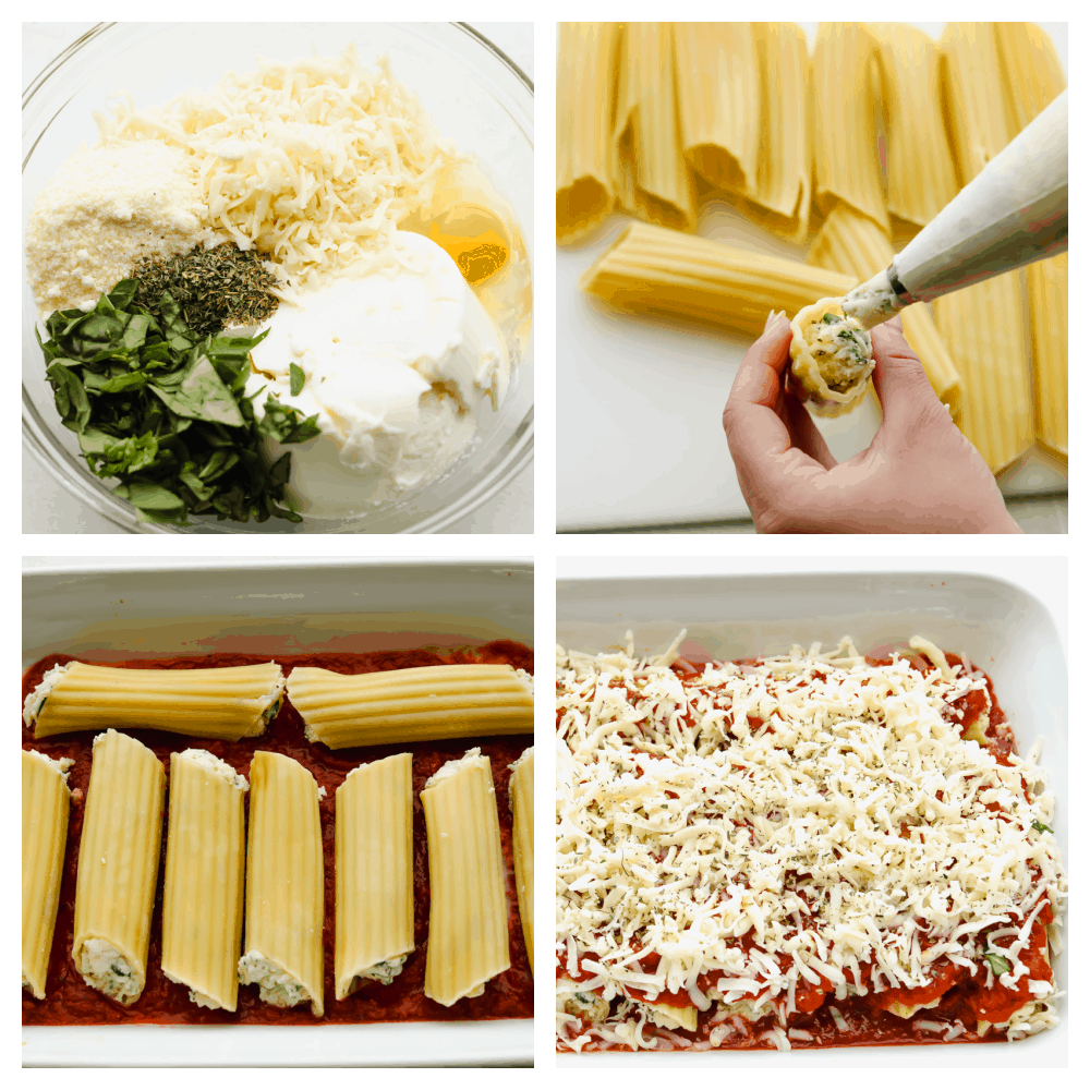 4 pictures showing steps to mixing and stuffing pasta.