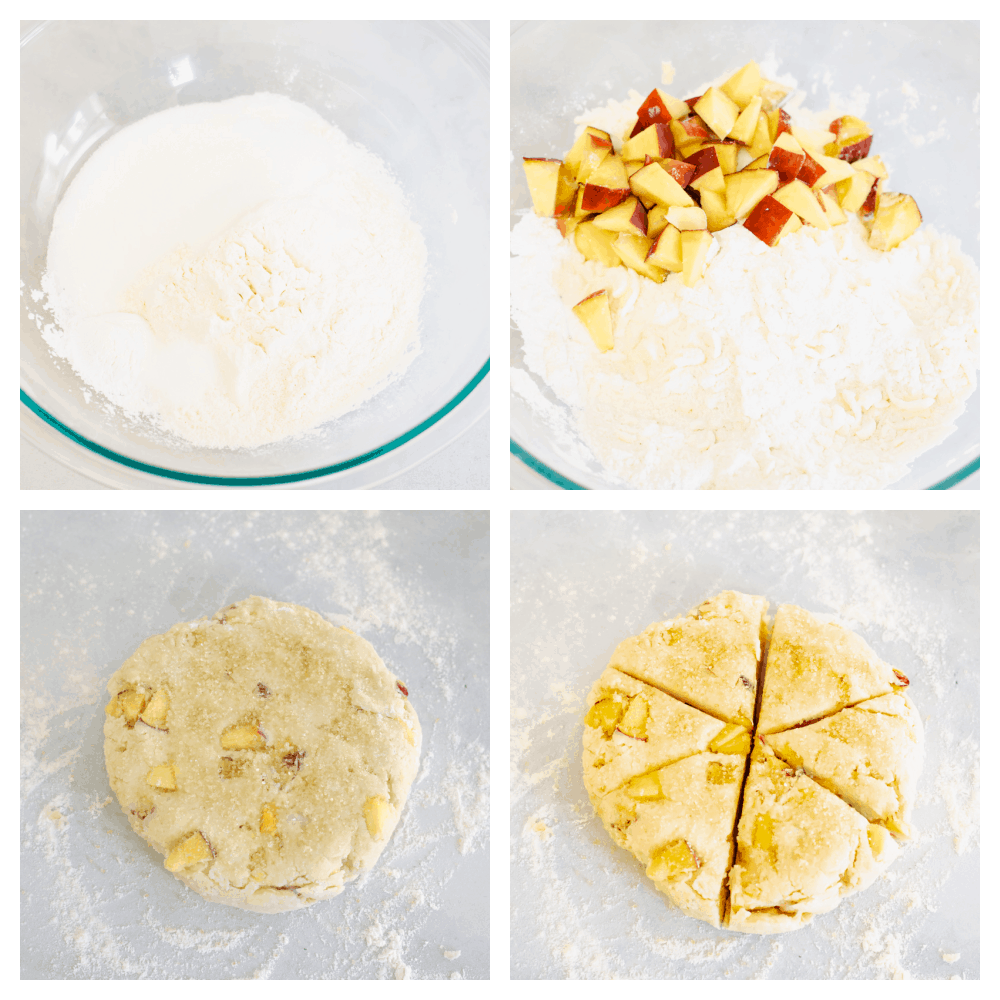 The dry ingredients, adding the peaches and forming  a dough with wedges.