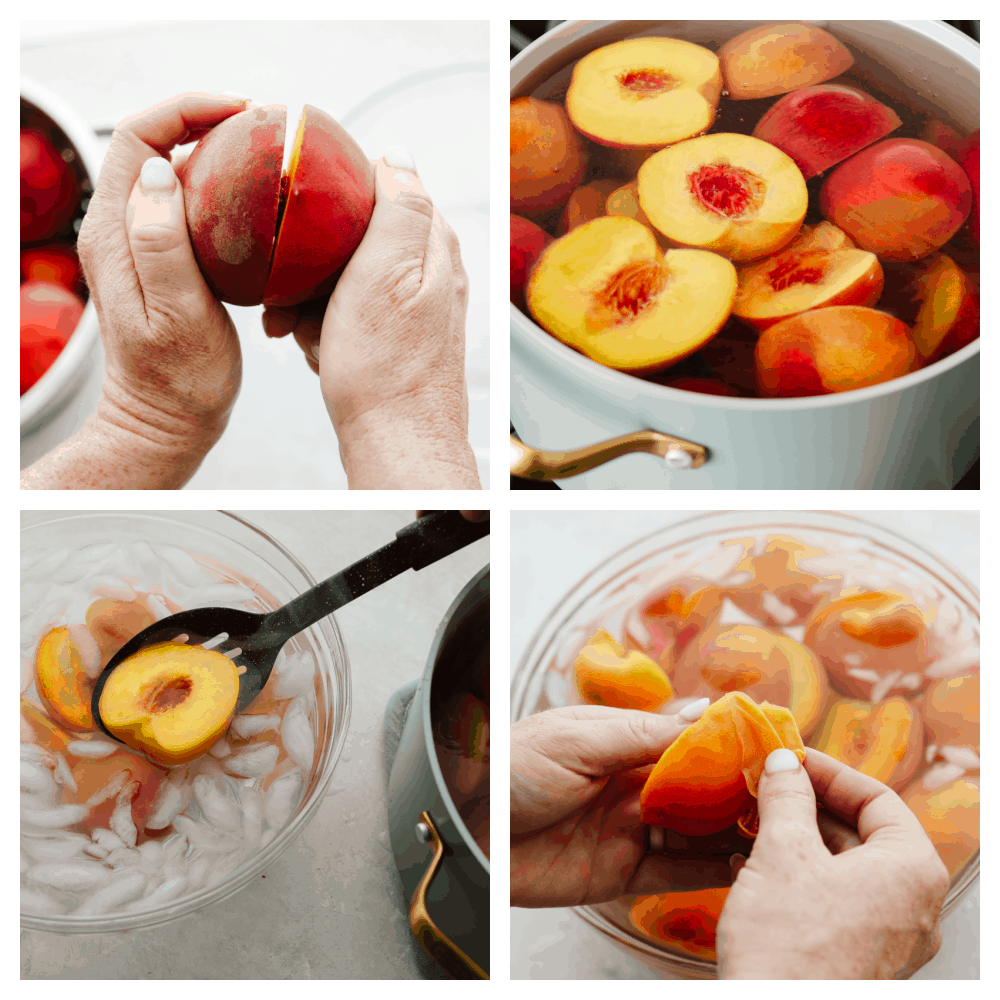 Preparing peaches for canning.
