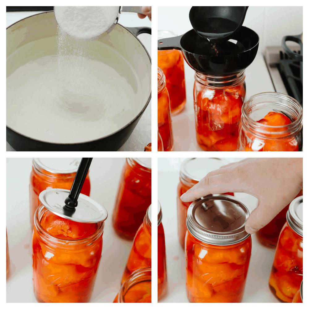 Process shots of preparing syrup and filling jars.