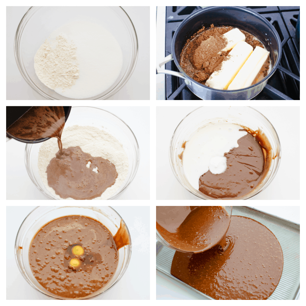 6 images showing the steps to baking a sheet cake.