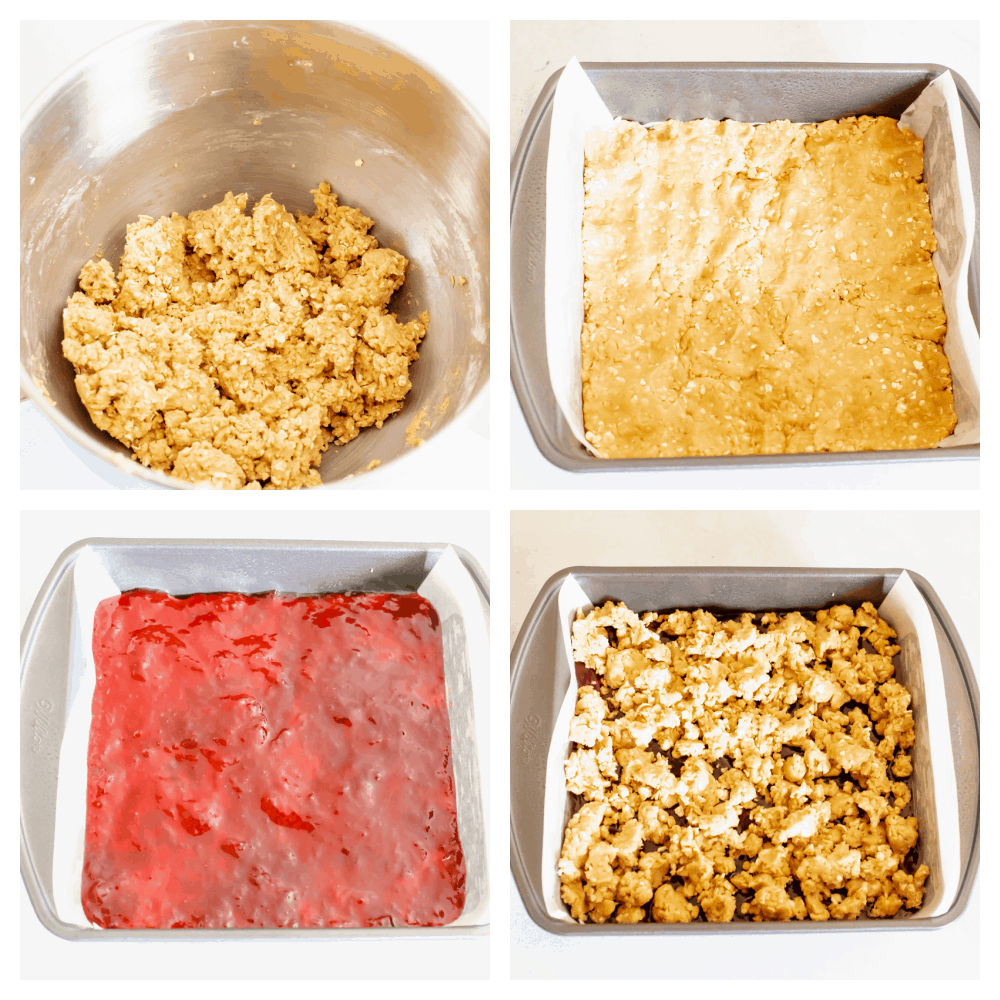 Process shots of adding layers to peanut butter and jelly bars.