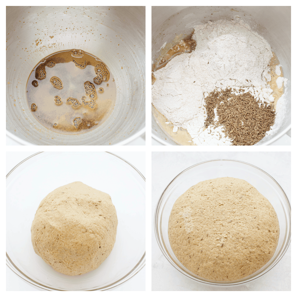 Dissolving the yeast, adding the rest of the ingredients and letting it rise.