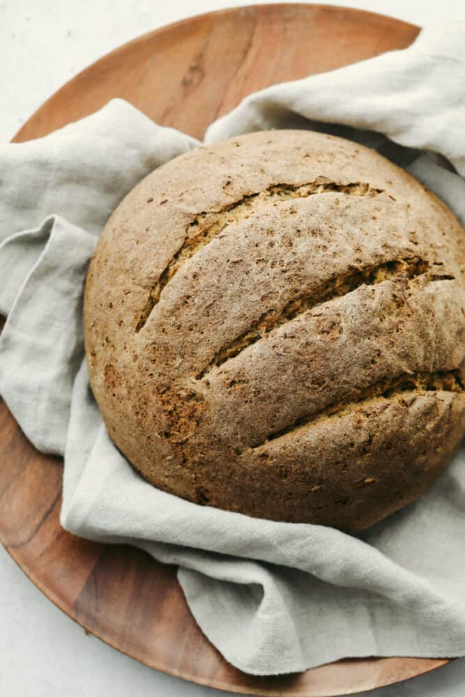 Freshly baked rye bread.