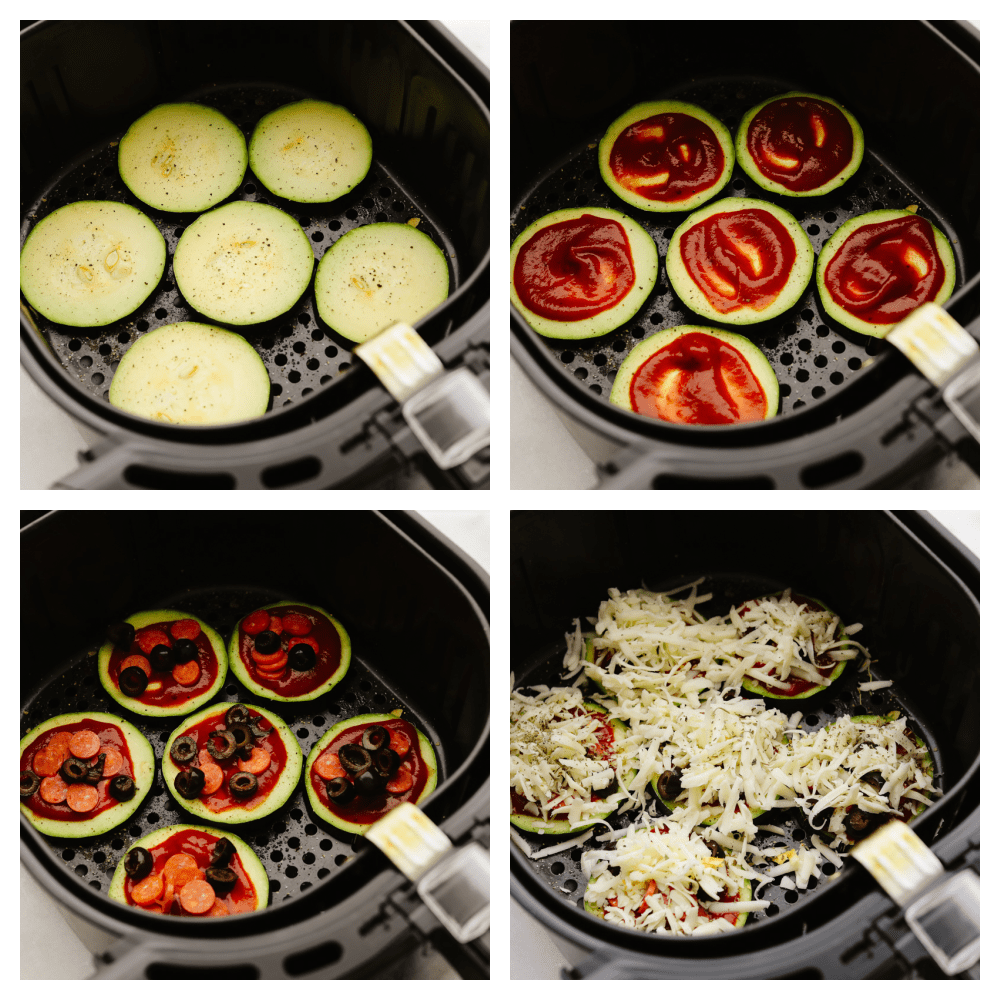 Zucchini slices in the air fryer and being topped with sauce, pepperoni, olives and cheese.