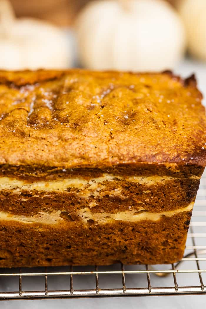 Side view of layers in this cream cheese pumpkin bread.