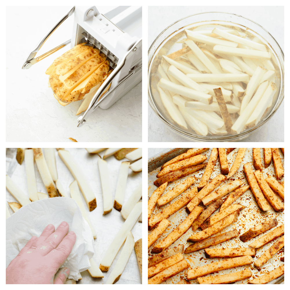 4 pictures showing potatoes being sliced, soaked and seasoned.