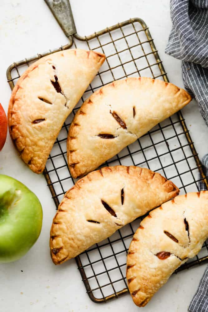 Hand pies on a cooling rack.