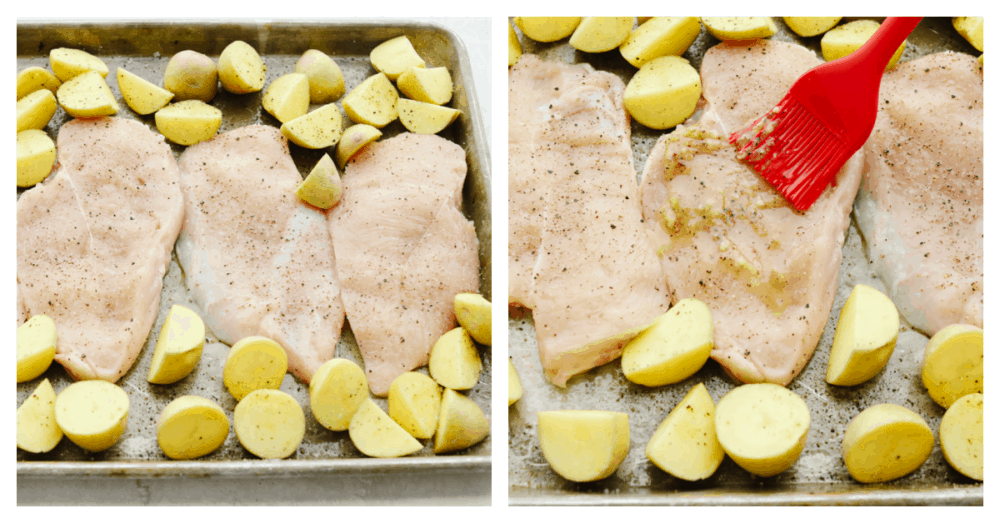 2 pictures showing how to place chicken and potatoes on a baking sheet and glaze them with butter.