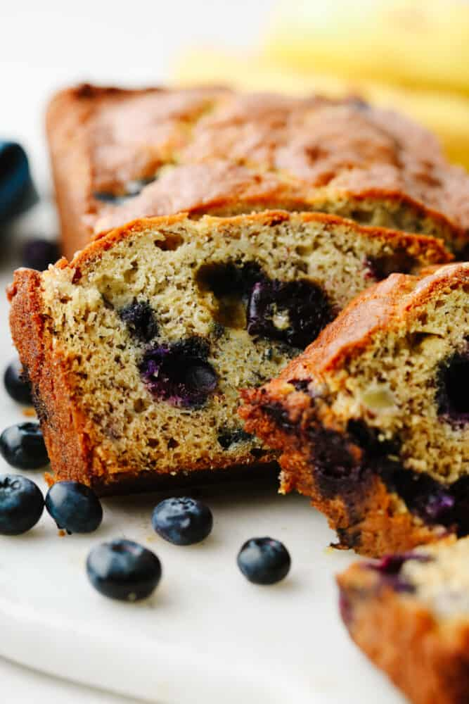 Closeup of blueberry banana bread slices.