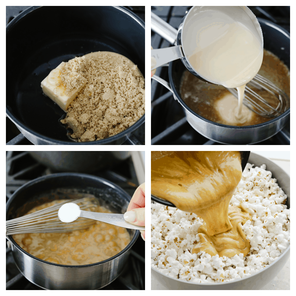 4 pictures showing how to make caramel popcorn step by step.